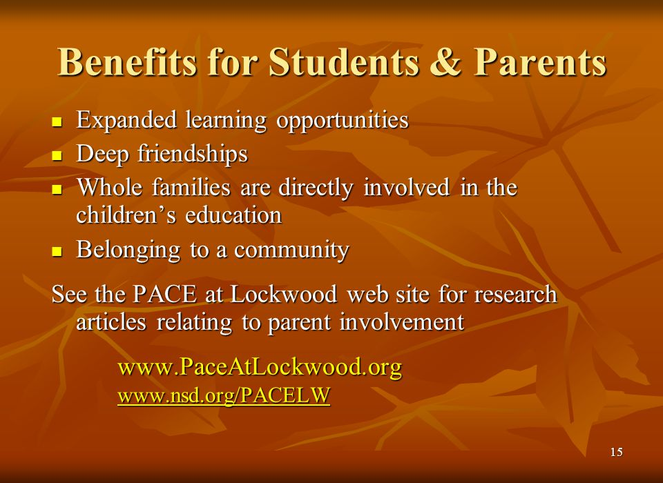 14 School and Community PACE has been an integral part of Lockwood Elementary and its surrounding community for over three decades.
