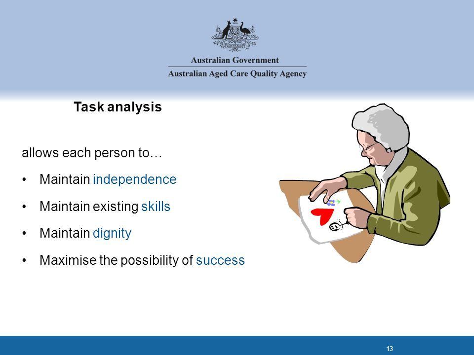 Task analysis allows each person to… Maintain independence Maintain existing skills Maintain dignity Maximise the possibility of success 13