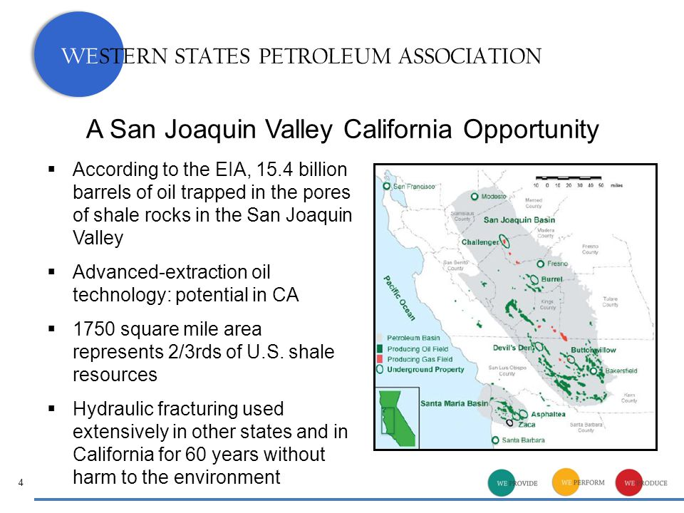 WESTERN STATES PETROLEUM ASSOCIATION A San Joaquin Valley California Opportunity  According to the EIA, 15.4 billion barrels of oil trapped in the pores of shale rocks in the San Joaquin Valley  Advanced-extraction oil technology: potential in CA  1750 square mile area represents 2/3rds of U.S.