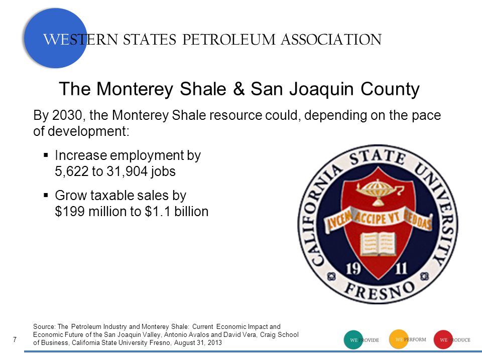 WESTERN STATES PETROLEUM ASSOCIATION The Monterey Shale & San Joaquin County 7 By 2030, the Monterey Shale resource could, depending on the pace of development:  Increase employment by 5,622 to 31,904 jobs  Grow taxable sales by $199 million to $1.1 billion Source: The Petroleum Industry and Monterey Shale: Current Economic Impact and Economic Future of the San Joaquin Valley, Antonio Avalos and David Vera, Craig School of Business, California State University Fresno, August 31, 2013
