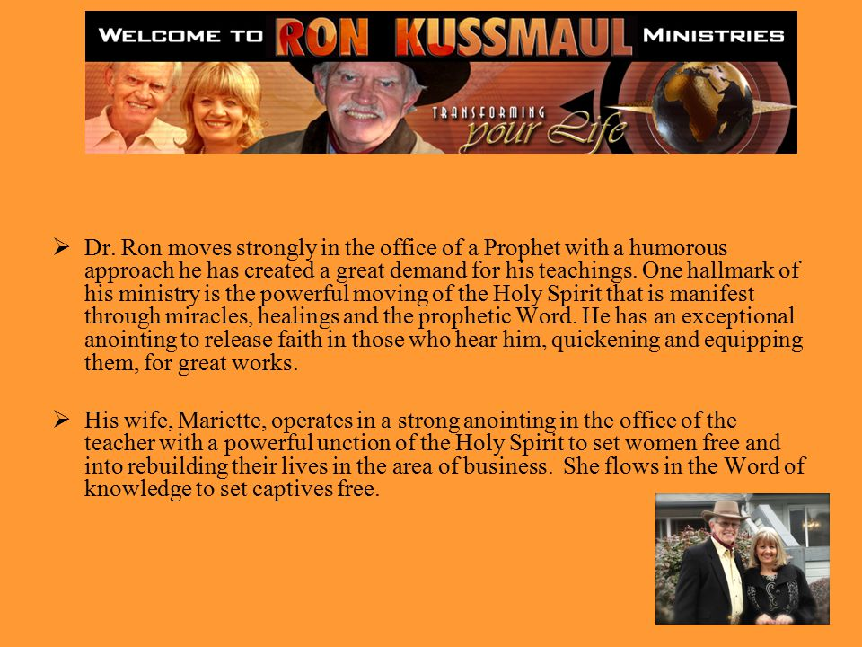 ABOUT THE MINISTRY In April 1980 as Ron Kussmaul was walking