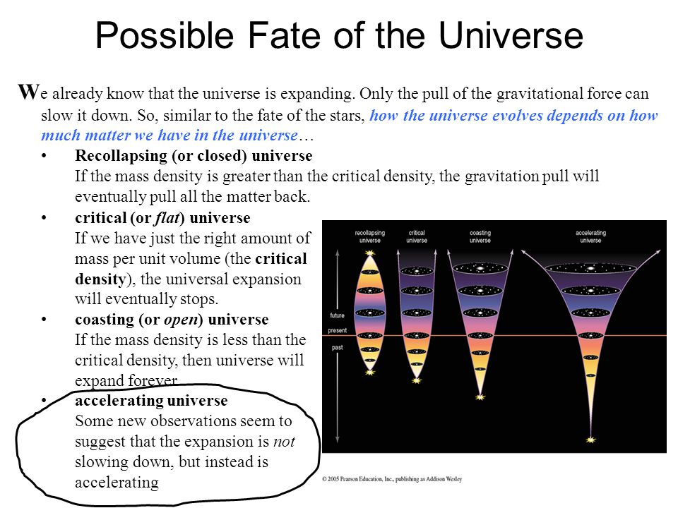 Possible Fate of the Universe W e already know that the universe is expanding.