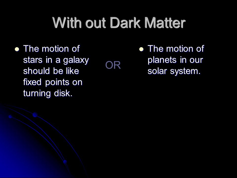 With out Dark Matter The motion of stars in a galaxy should be like fixed points on turning disk.