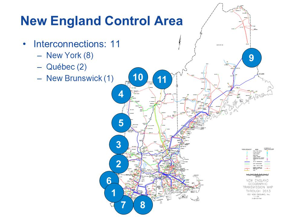 New England Control Area Interconnections: 11 –New York (8) –Québec (2) –New Brunswick (1)