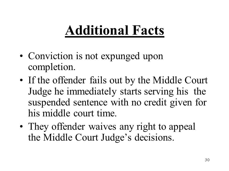 30 Additional Facts Conviction is not expunged upon completion.