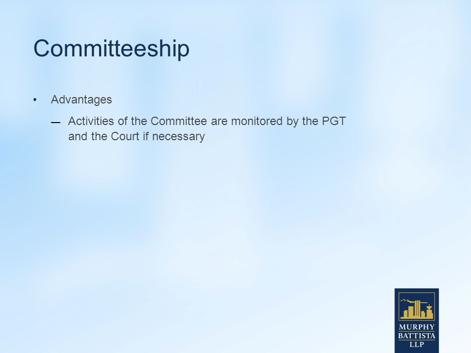 Committeeship Advantages — Activities of the Committee are monitored by the PGT and the Court if necessary