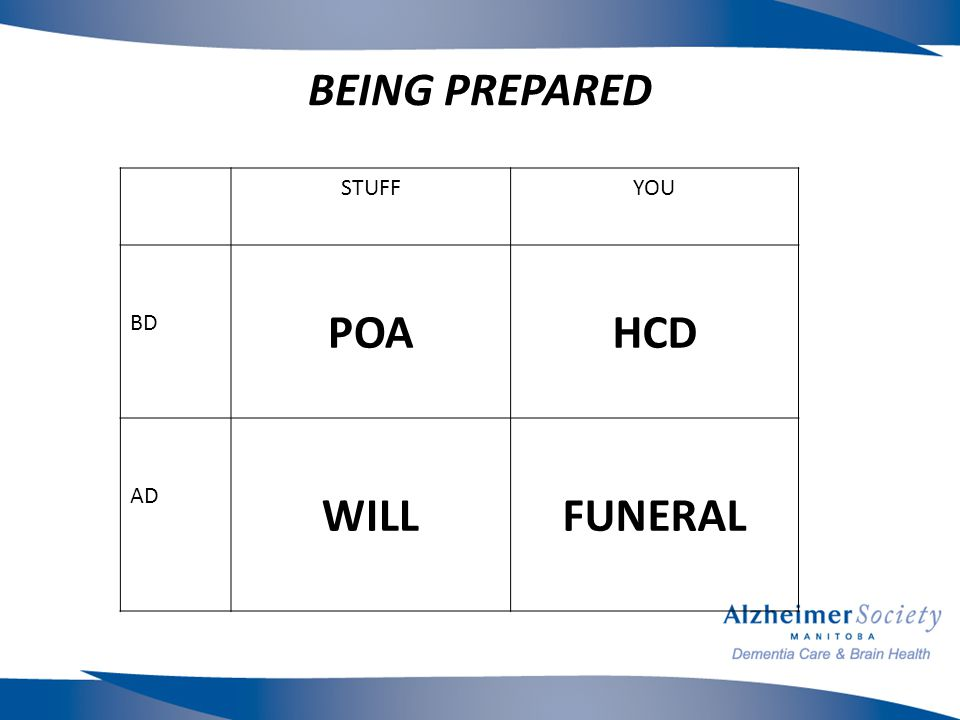 BEING PREPARED STUFFYOU BD POAHCD AD WILLFUNERAL