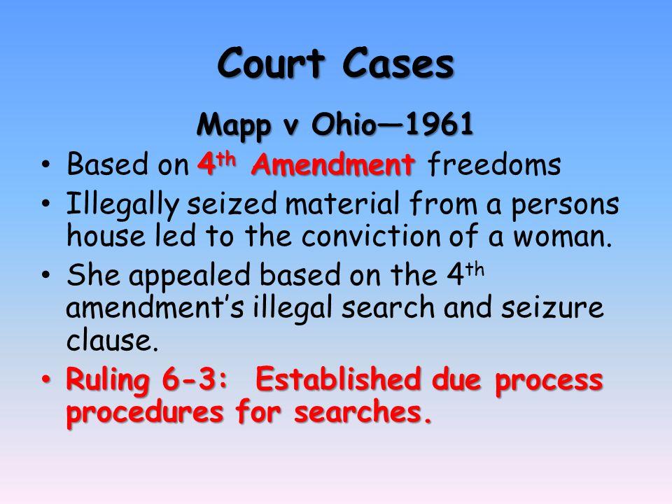 Court Cases Mapp V Ohio Th Amendment Based On 4 Th Amendment Freedoms Illegally Seized
