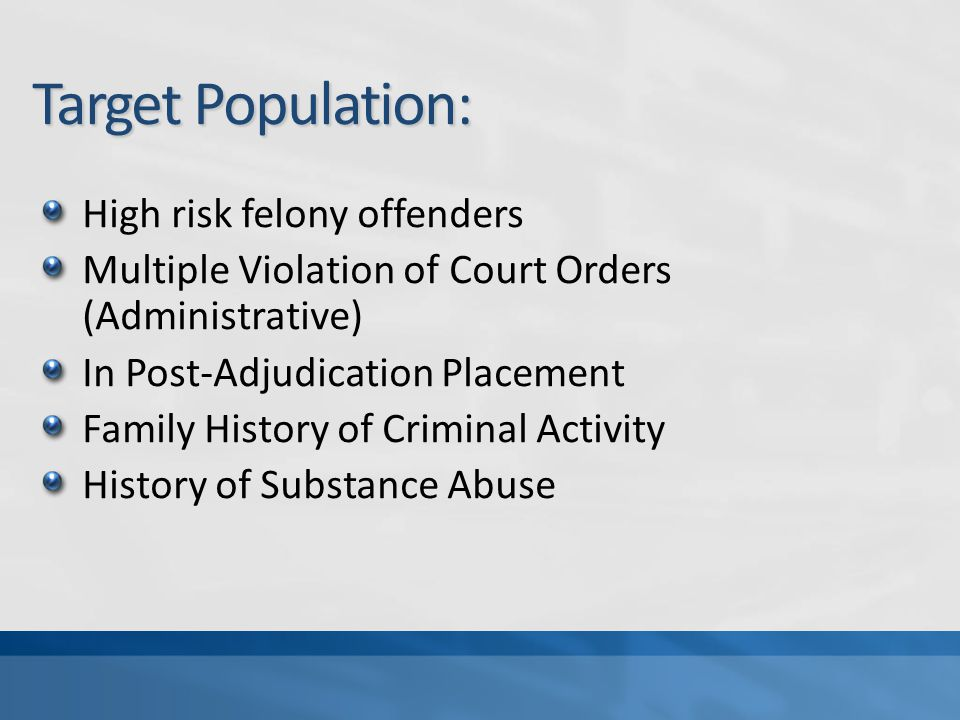 Target Population: High risk felony offenders Multiple Violation of Court Orders (Administrative) In Post-Adjudication Placement Family History of Criminal Activity History of Substance Abuse