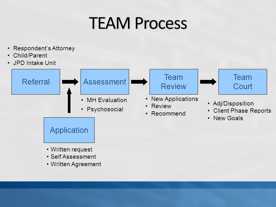 TEAM Process Referral Application Assessment Team Review Team Court Written request Self Assessment Written Agreement MH Evaluation Psychosocial New Applications Review Recommend Adj/Disposition Client Phase Reports New Goals Respondent's Attorney Child/Parent JPD Intake Unit