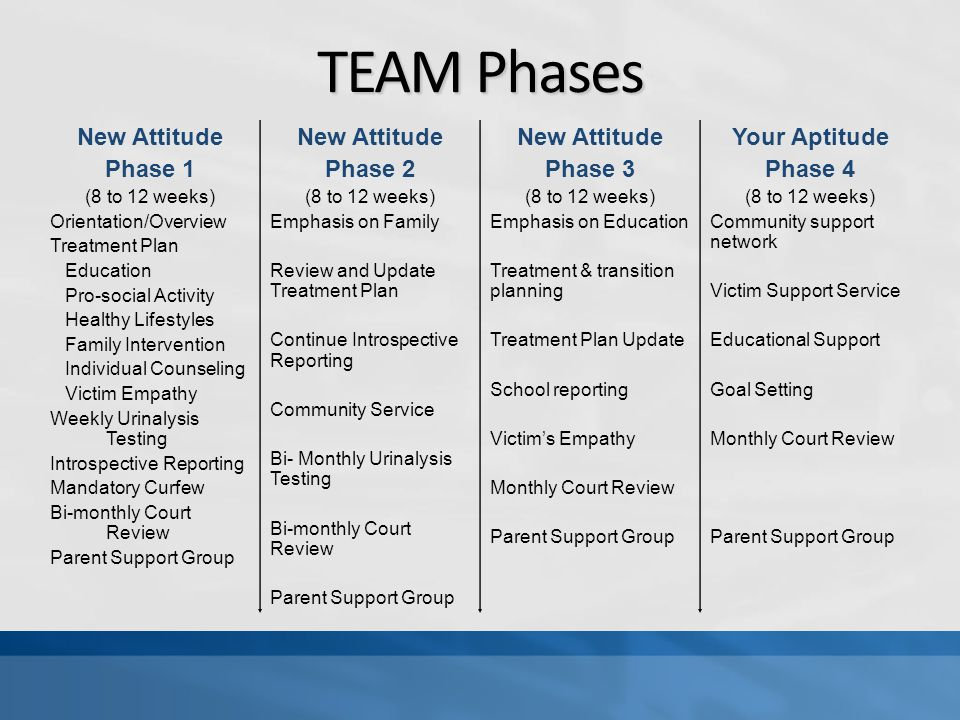 TEAM Phases New Attitude Phase 1 (8 to 12 weeks) Orientation/Overview Treatment Plan Education Pro-social Activity Healthy Lifestyles Family Intervention Individual Counseling Victim Empathy Weekly Urinalysis Testing Introspective Reporting Mandatory Curfew Bi-monthly Court Review Parent Support Group New Attitude Phase 2 (8 to 12 weeks) Emphasis on Family Review and Update Treatment Plan Continue Introspective Reporting Community Service Bi- Monthly Urinalysis Testing Bi-monthly Court Review Parent Support Group New Attitude Phase 3 (8 to 12 weeks) Emphasis on Education Treatment & transition planning Treatment Plan Update School reporting Victim's Empathy Monthly Court Review Parent Support Group Your Aptitude Phase 4 (8 to 12 weeks) Community support network Victim Support Service Educational Support Goal Setting Monthly Court Review Parent Support Group