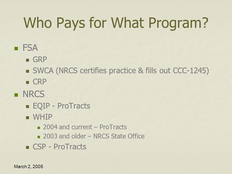 Certification & Payment March 2, Outline Rules of Payment ...