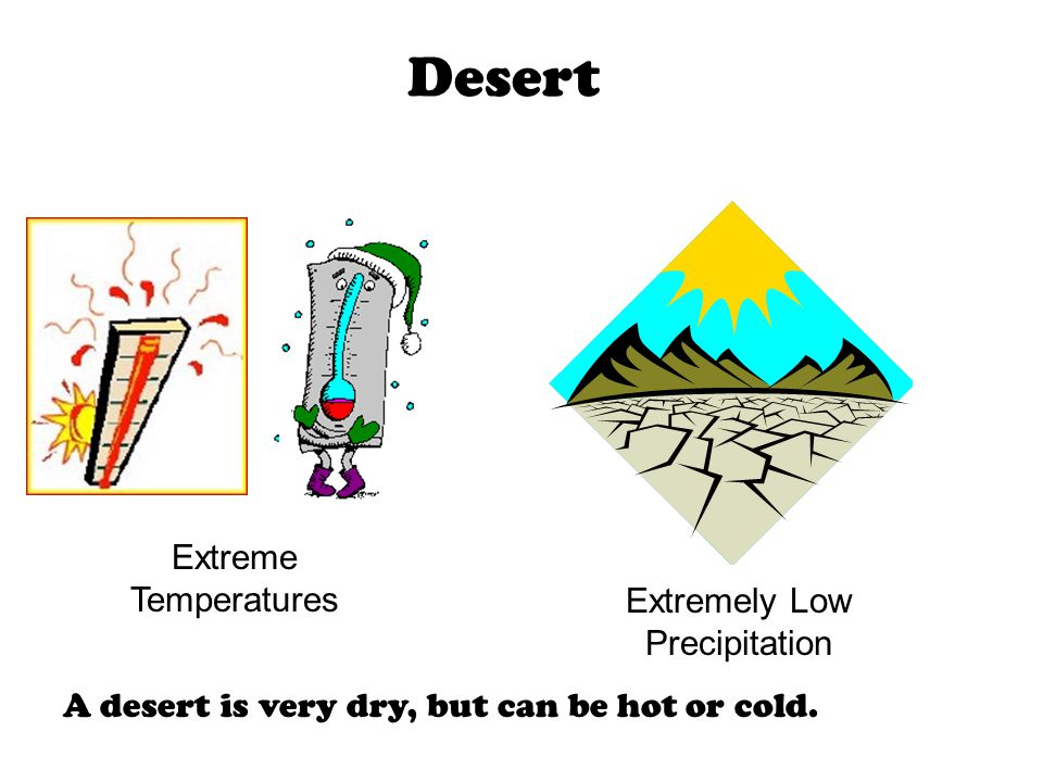 Desert Extremely Low Precipitation Extreme Temperatures A desert is very dry, but can be hot or cold.