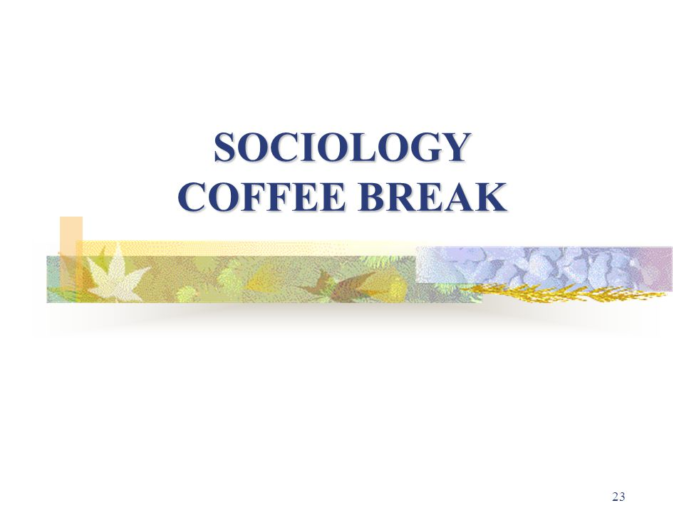 23 SOCIOLOGY COFFEE BREAK