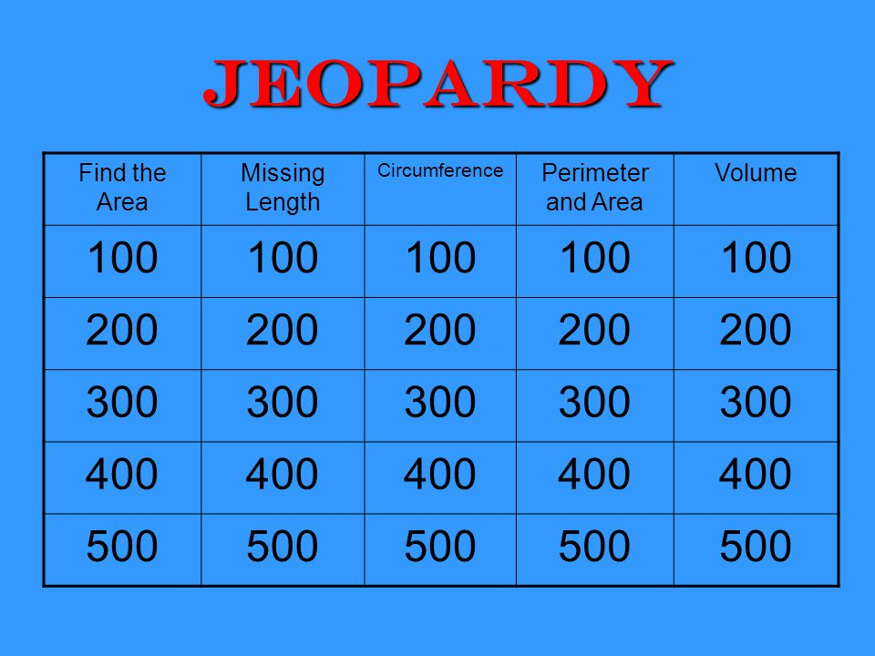 Jeopardy Find the Area Missing Length Circumference Perimeter and Area Volume