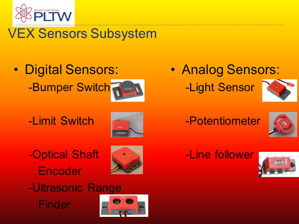 Analog Sensors: -Light Sensor -Potentiometer -Line follower Digital Sensors: -Bumper Switch -Limit Switch -Optical Shaft Encoder -Ultrasonic Range Finder VEX Sensors Subsystem