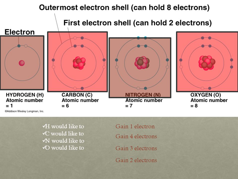 H would like to C would like to N would like to O would like to Gain 4 electrons Gain 1 electron Gain 3 electrons Gain 2 electrons