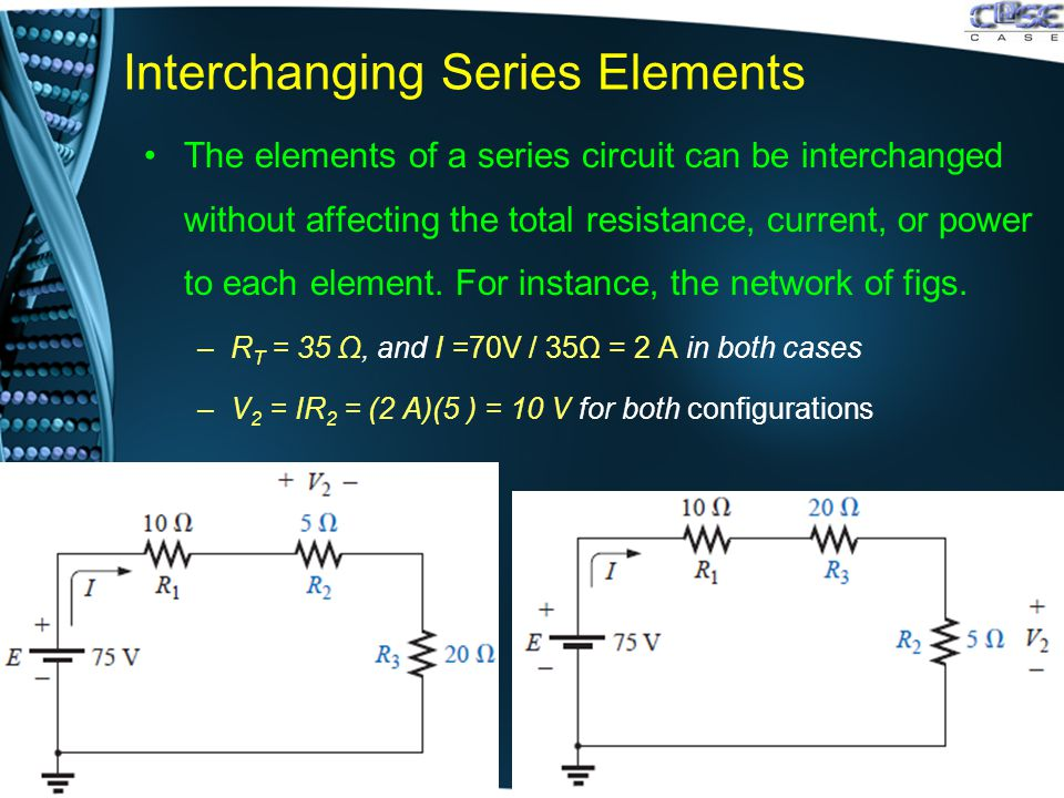 Interchanging Series Elements The elements of a series circuit can be interchanged without affecting the total resistance, current, or power to each element.
