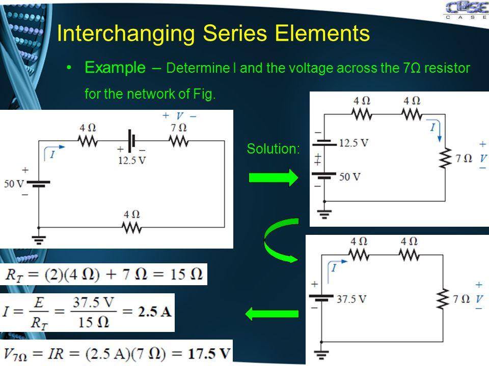 Interchanging Series Elements Example – Determine I and the voltage across the 7Ω resistor for the network of Fig..