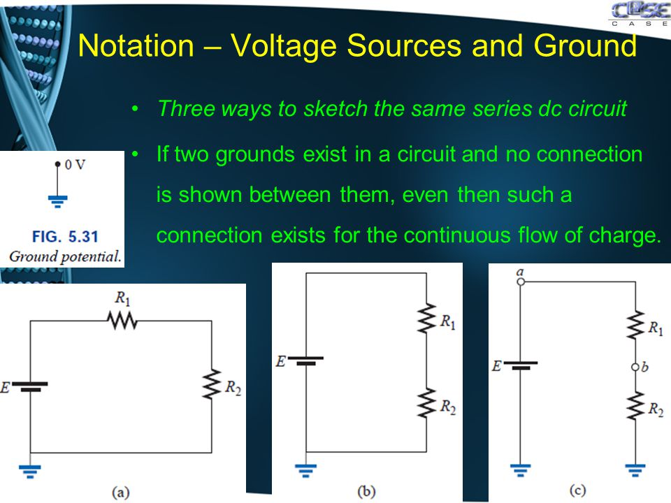 Notation – Voltage Sources and Ground Three ways to sketch the same series dc circuit If two grounds exist in a circuit and no connection is shown between them, even then such a connection exists for the continuous flow of charge.