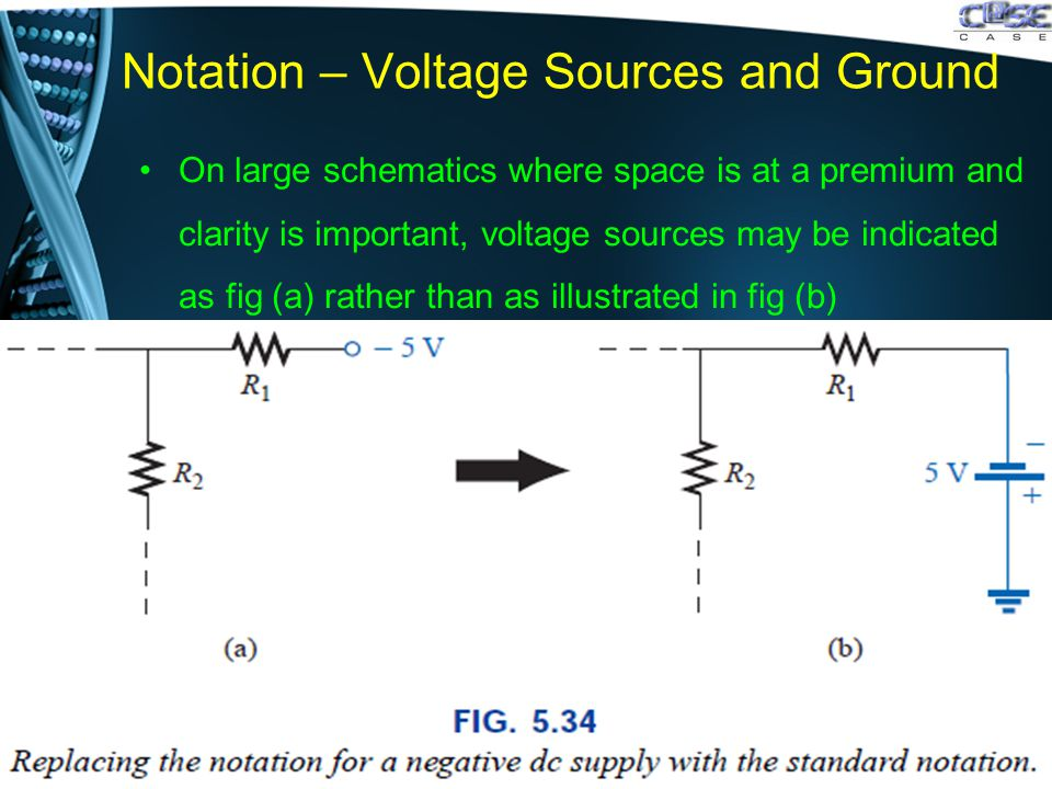 Notation – Voltage Sources and Ground On large schematics where space is at a premium and clarity is important, voltage sources may be indicated as fig (a) rather than as illustrated in fig (b)