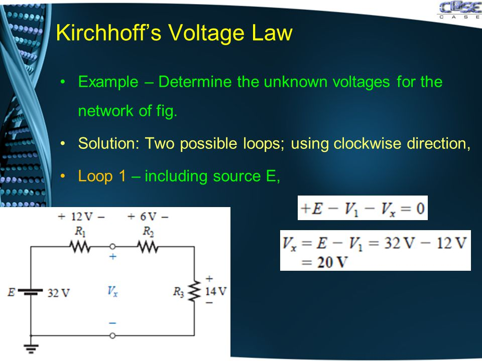 Kirchhoff's Voltage Law Example – Determine the unknown voltages for the network of fig.