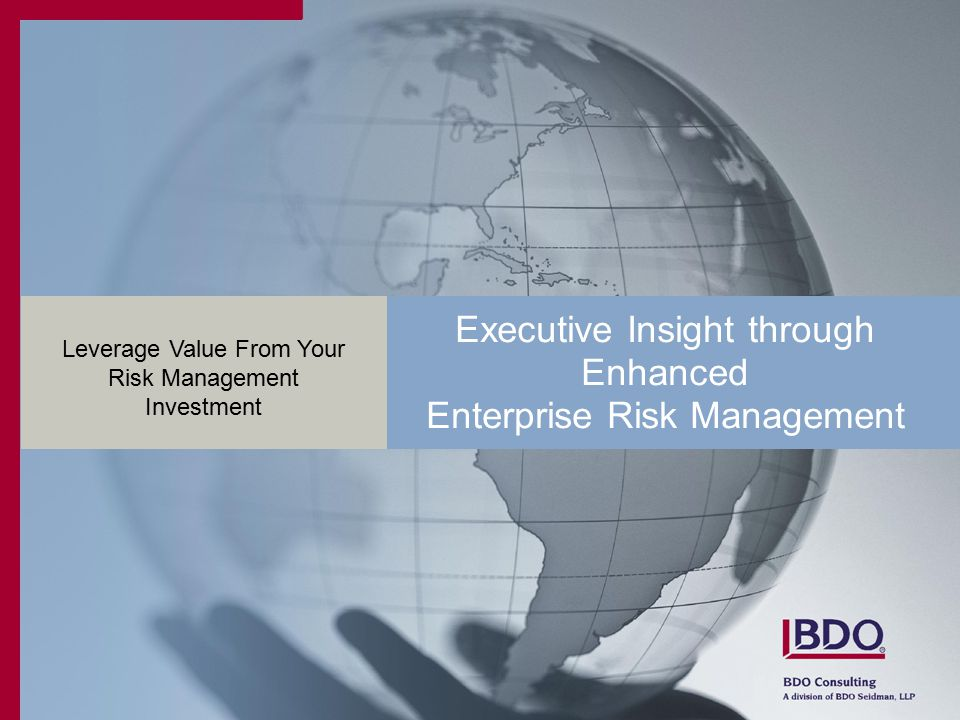 Executive Insight through Enhanced Enterprise Risk Management Leverage Value From Your Risk Management Investment