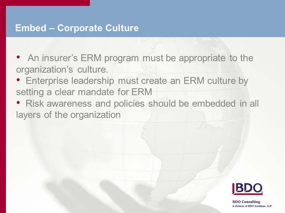 Embed – Corporate Culture An insurer's ERM program must be appropriate to the organization's culture.