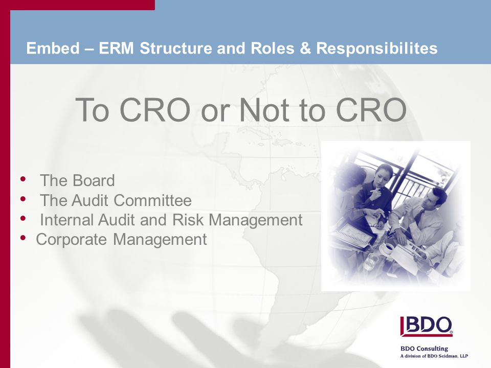 Embed – ERM Structure and Roles & Responsibilites To CRO or Not to CRO The Board The Audit Committee Internal Audit and Risk Management Corporate Management