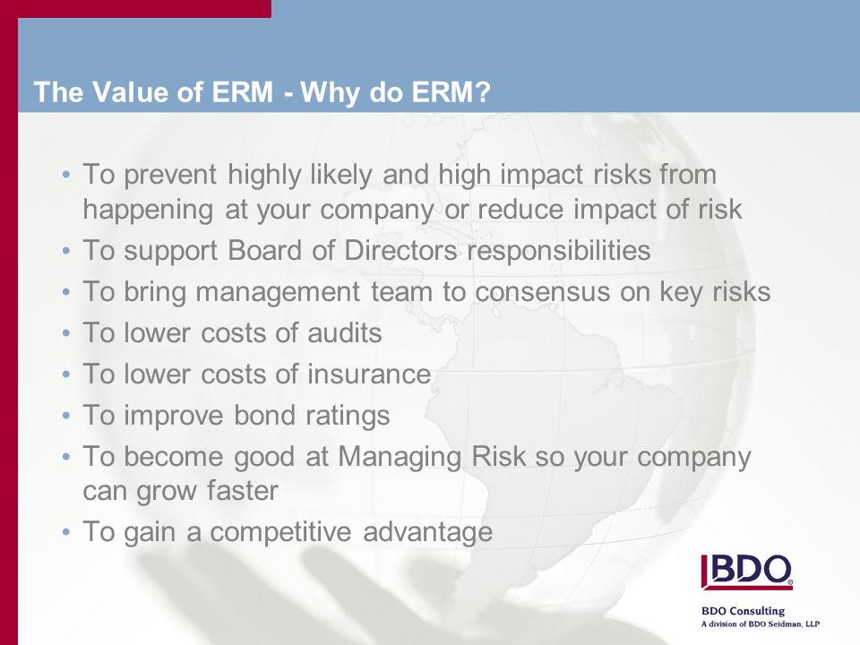 The Value of ERM - Why do ERM.