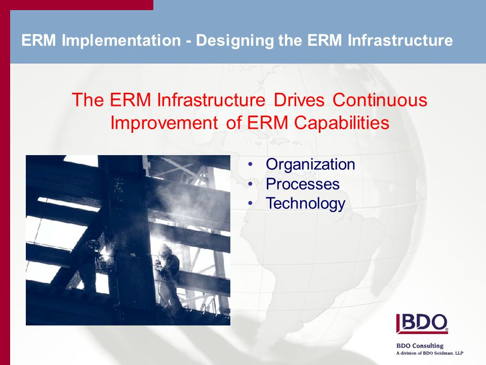 ERM Implementation - Designing the ERM Infrastructure The ERM Infrastructure Drives Continuous Improvement of ERM Capabilities Organization Processes Technology