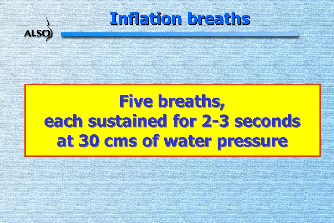 Inflation breaths Five breaths, each sustained for 2-3 seconds at 30 cms of water pressure Five breaths, each sustained for 2-3 seconds at 30 cms of water pressure