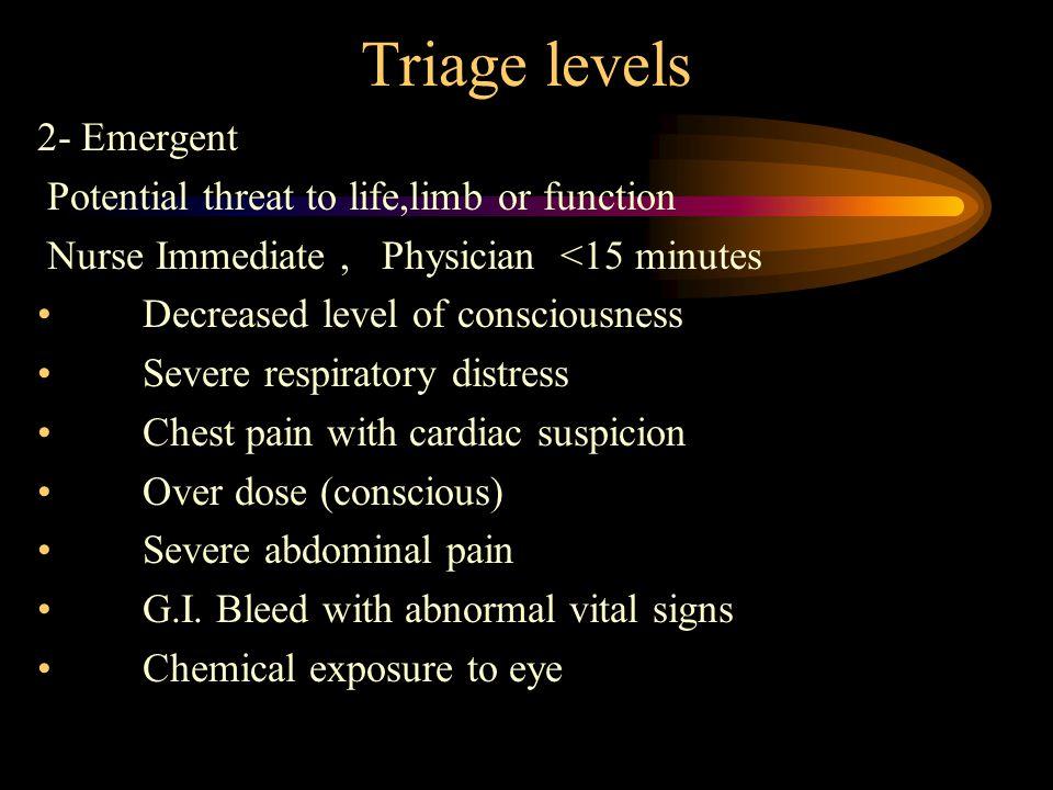 Triage levels 2- Emergent Potential threat to life,limb or function Nurse Immediate, Physician <15 minutes Decreased level of consciousness Severe respiratory distress Chest pain with cardiac suspicion Over dose (conscious) Severe abdominal pain G.I.