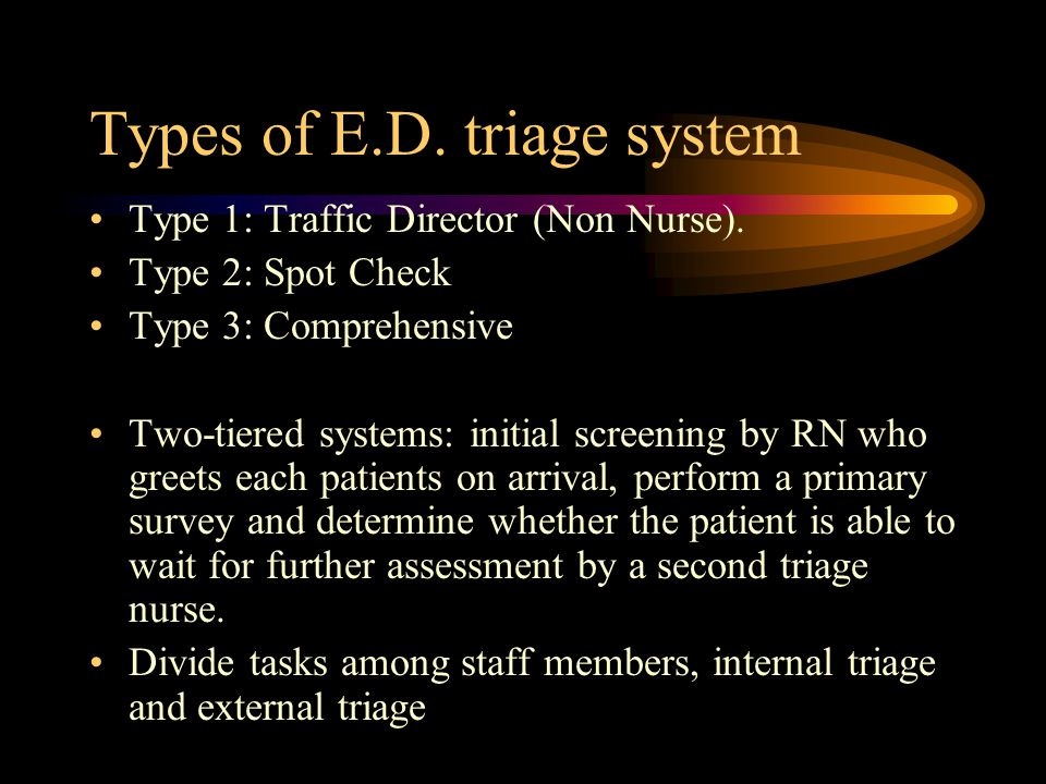 Types of E.D. triage system Type 1: Traffic Director (Non Nurse).