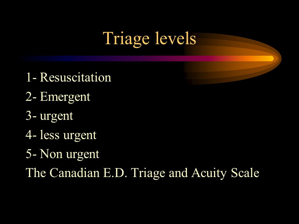 Triage levels 1- Resuscitation 2- Emergent 3- urgent 4- less urgent 5- Non urgent The Canadian E.D.