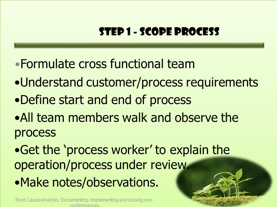 Step 1 - Scope Process Formulate cross functional team Understand customer/process requirements Define start and end of process All team members walk and observe the process Get the 'process worker' to explain the operation/process under review.