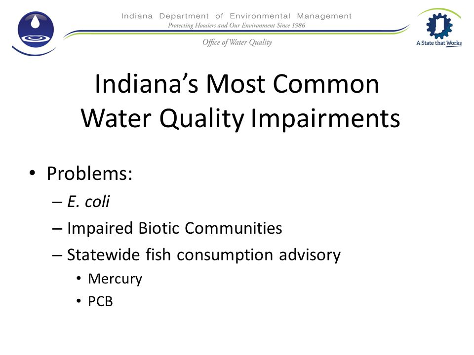 Indiana's Most Common Water Quality Impairments Problems: – E.
