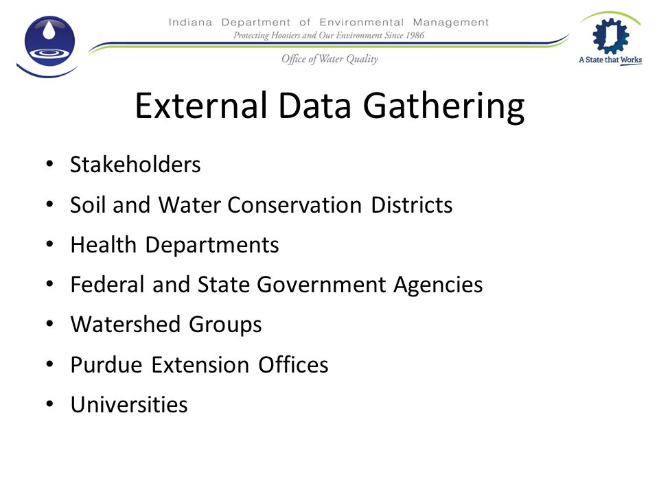 External Data Gathering Stakeholders Soil and Water Conservation Districts Health Departments Federal and State Government Agencies Watershed Groups Purdue Extension Offices Universities