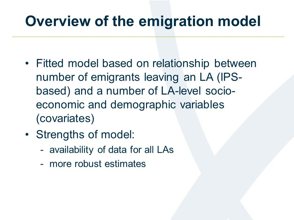 Overview of the emigration model Fitted model based on relationship between number of emigrants leaving an LA (IPS- based) and a number of LA-level socio- economic and demographic variables (covariates) Strengths of model: -availability of data for all LAs -more robust estimates