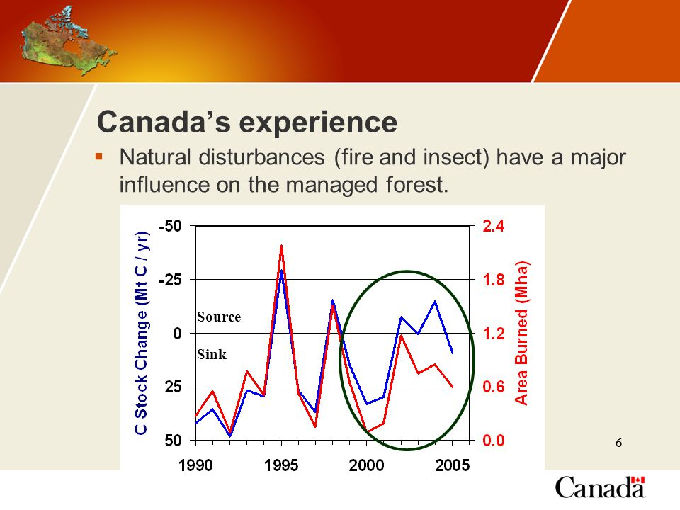 6 Canada's experience  Natural disturbances (fire and insect) have a major influence on the managed forest.