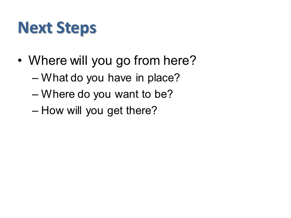 Next Steps Where will you go from here. –What do you have in place.