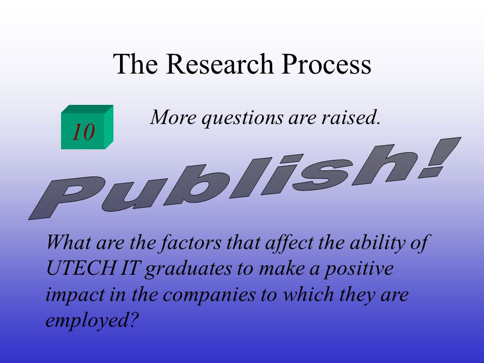 The Research Process 10 More questions are raised.