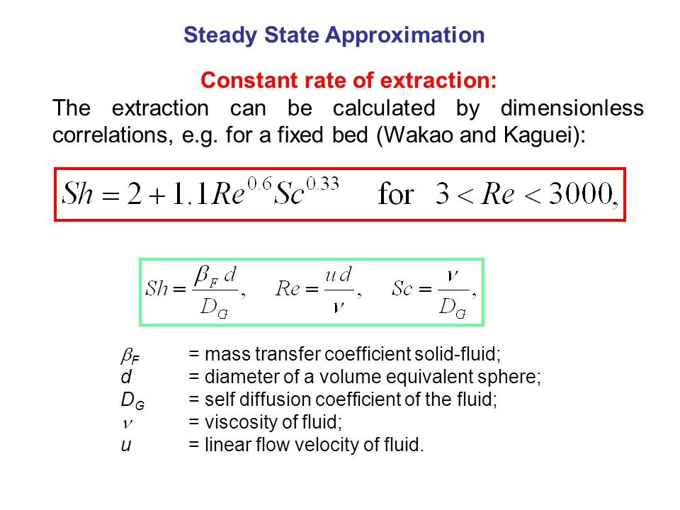 Constant rate of extraction: The extraction can be calculated by dimensionless correlations, e.g.