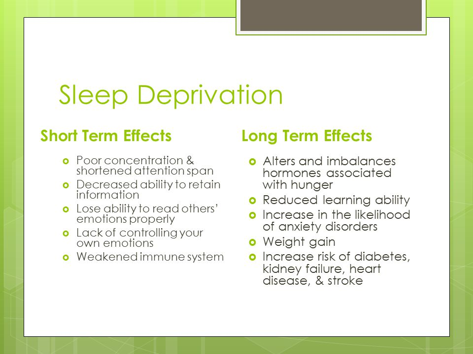 Sleep Deprivation Short Term Effects  Poor concentration & shortened attention span  Decreased ability to retain information  Lose ability to read others' emotions properly  Lack of controlling your own emotions  Weakened immune system Long Term Effects  Alters and imbalances hormones associated with hunger  Reduced learning ability  Increase in the likelihood of anxiety disorders  Weight gain  Increase risk of diabetes, kidney failure, heart disease, & stroke