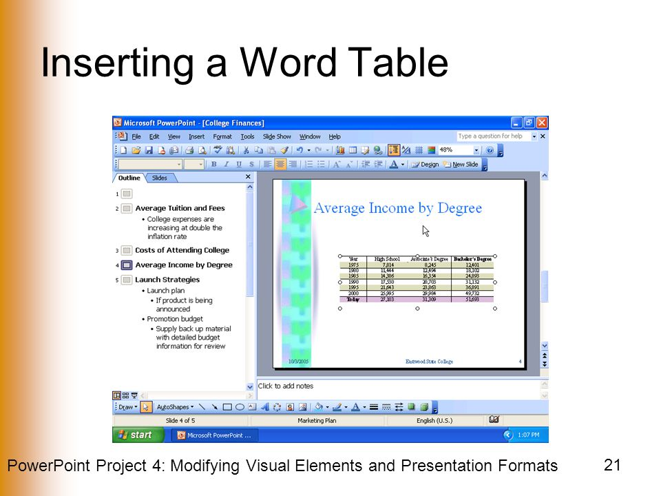 PowerPoint Project 4: Modifying Visual Elements and Presentation Formats 21 Inserting a Word Table