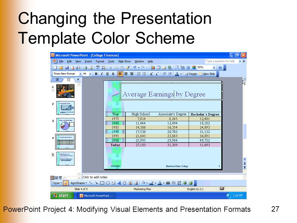 PowerPoint Project 4: Modifying Visual Elements and Presentation Formats 27 Changing the Presentation Template Color Scheme