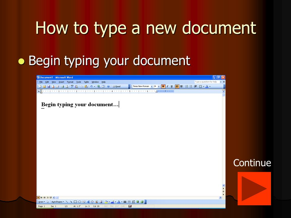 How to create a new document In the Microsoft Word program click on the 'File' and then 'New' buttons.