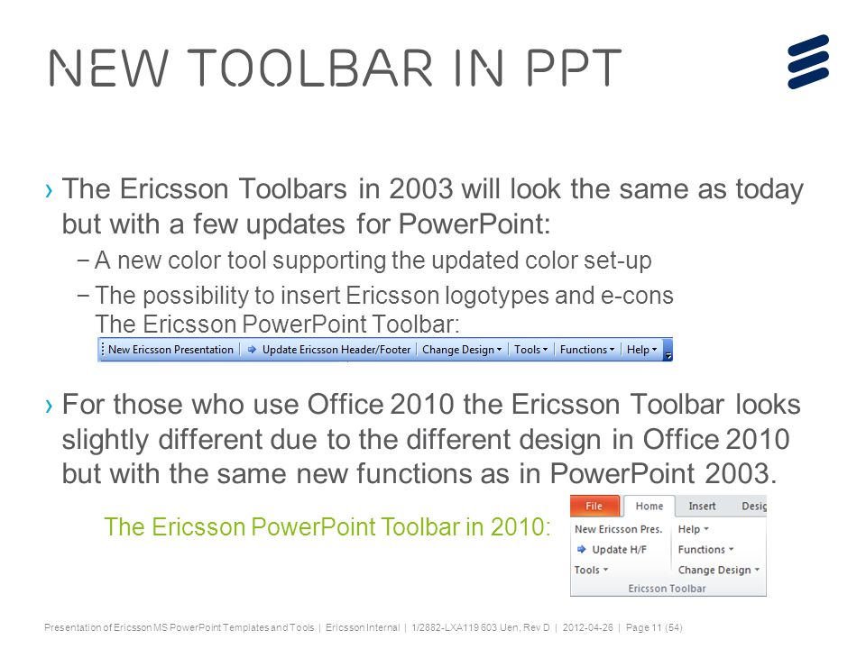 Ericsson power point templates a presentation about the toolbar and 11 slide toneelgroepblik Images