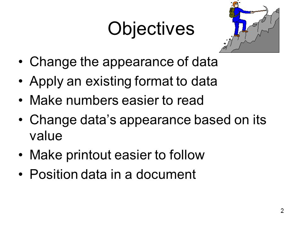 1 CA202 Spreadsheet Application Changing Document Appearance Lecture # 4
