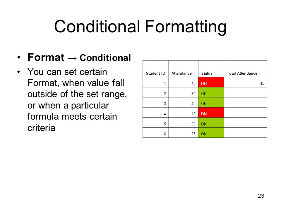 22 Conditional Formatting Another way you can make your data easier to interpret is to have Excel change the appearance of your data based on its value.